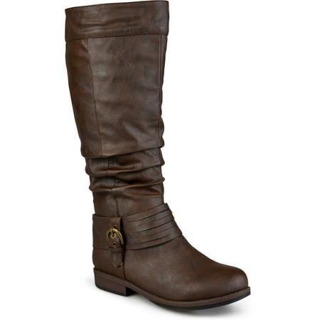 Women's Wide Calf Slouchy Buckle Detail Boots (Wide Calf Santa Boots)