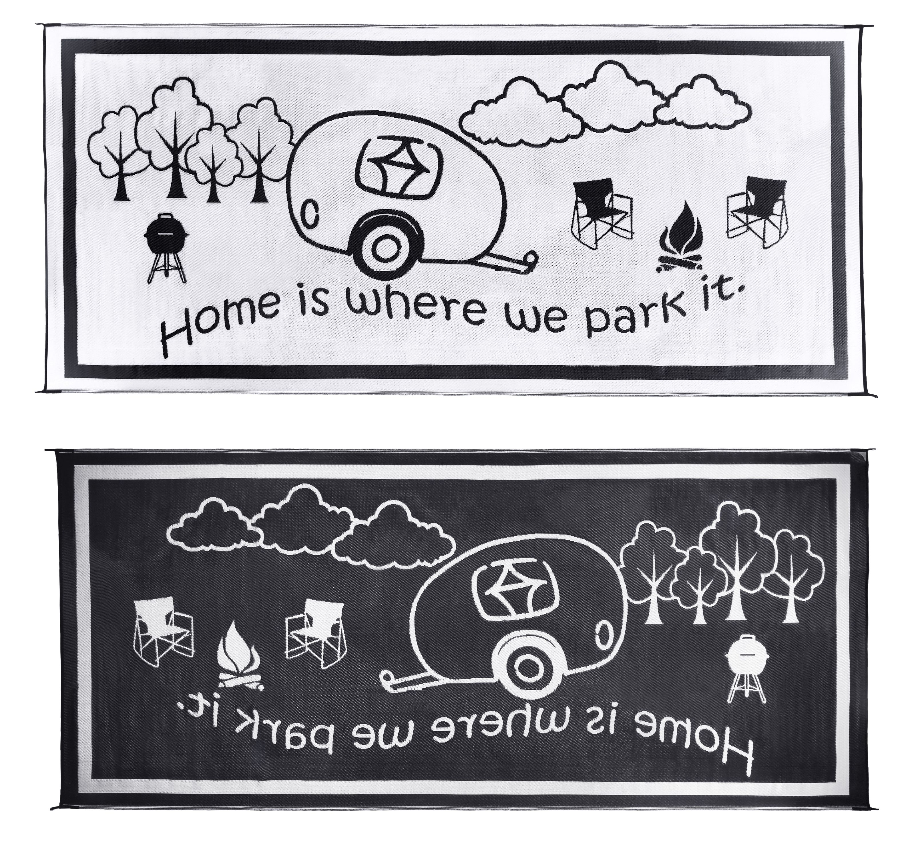 "Stylish Camping 8'x 18' RV Home Outdoor Mat, BLK/WHT ""Home is Where We Park It"""