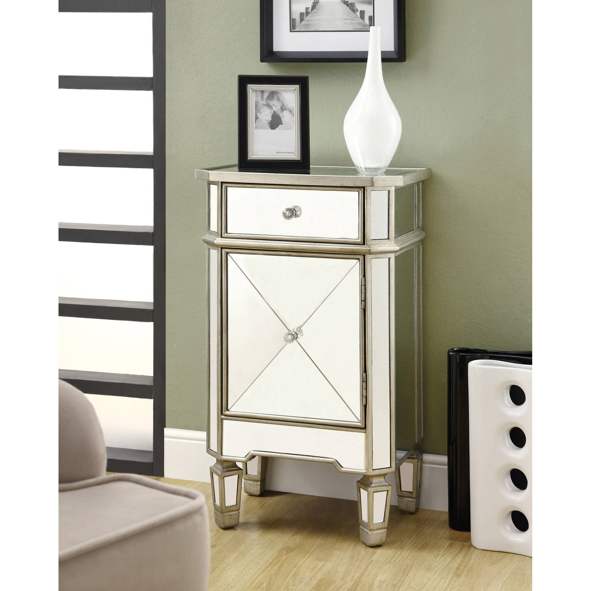 monarch accent chest h  brushed silver with mirror  walmartcom -