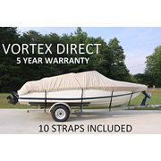 VORTEX HEAVY DUTY 13', 14', 15.5', *TAN/BEIGE* VHULL FISH SKI RUNABOUT COVER FOR 13 TO 15.5 FT BOAT (FAST SHIPPING - 1 TO 4 BUSINESS DAY DELIVERY)