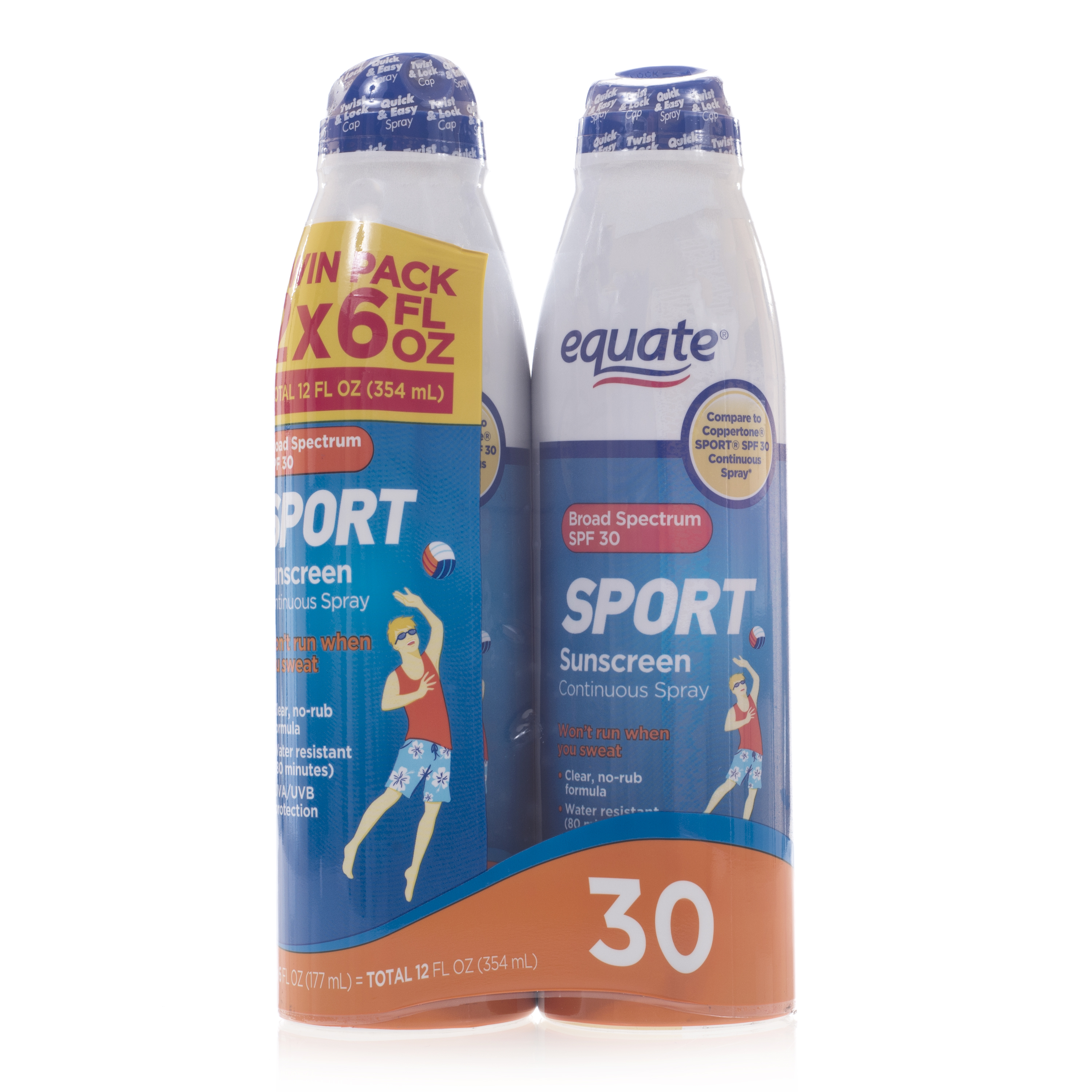 Equate Sport Continuous Spray Sunscreen, SPF 30 (Pack of 2)