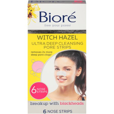 Biore Witch Hazel ULTRA Deep Cleansing Pore Strips - 6 ct Nose (3 Pack) Deep Cleansing Pore Strips Nose