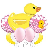 Custom, Fun & Cool 9 Pack of Helium & Air Inflatable Mylar/Latex Balloons w/ Gender Reveal It's A Girl Cute Cartoon Baby Duck Design [Variety Assorted Multicolor in Pink, Yellow, Black & White ]