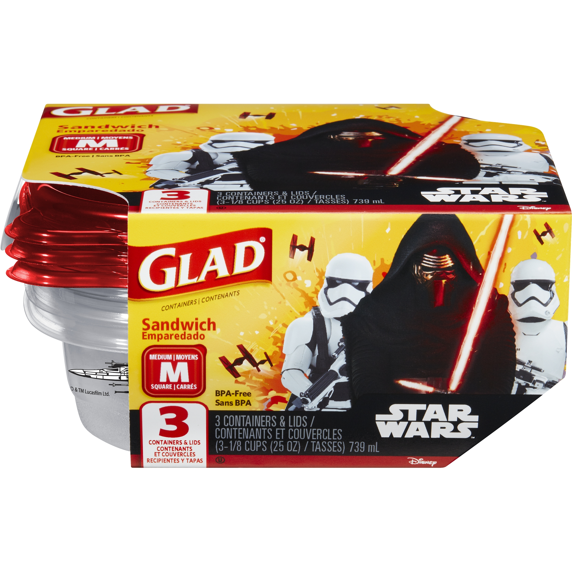 Glad Food Storage Containers, Sandwich, Disney Star Wars, 25 Ounce, 3 Count