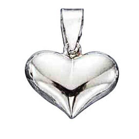 Wide Puffed Heart - Sterling Silver 16