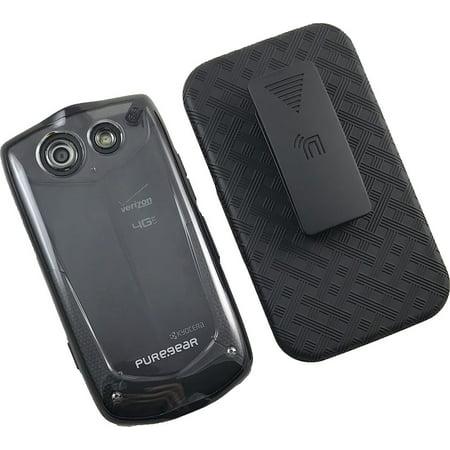 Kyocera Brigadier Clip Case, PureGear Clear Transparent Hard Cover + Black Belt Hip Holster for Verizon Kyocera Brigadier E6782 Cover Case Clear Belt Clip