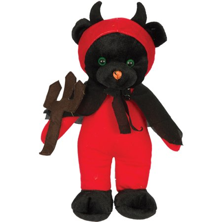Kelly Toy Halloween Devil Bear with Fork 15 in Plush Animal, Red Black