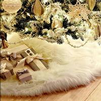 """31"""" Diameter Long Plush White Snowflake Christmas Tree Skirt Base Floor Mat Cover Decor"""