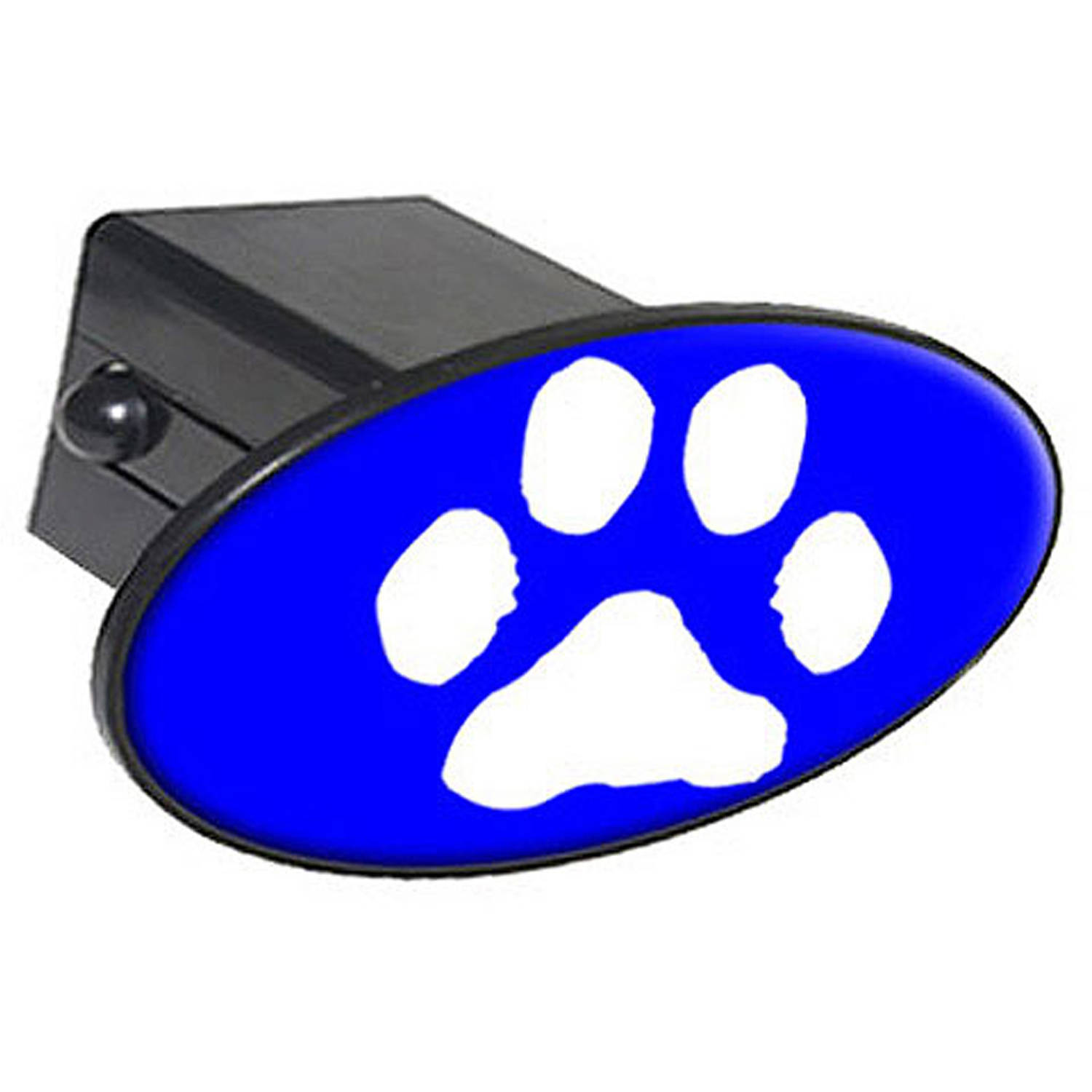 """Paw Print White On Blue 2"""" Oval Tow Trailer Hitch Cover Plug Insert"""
