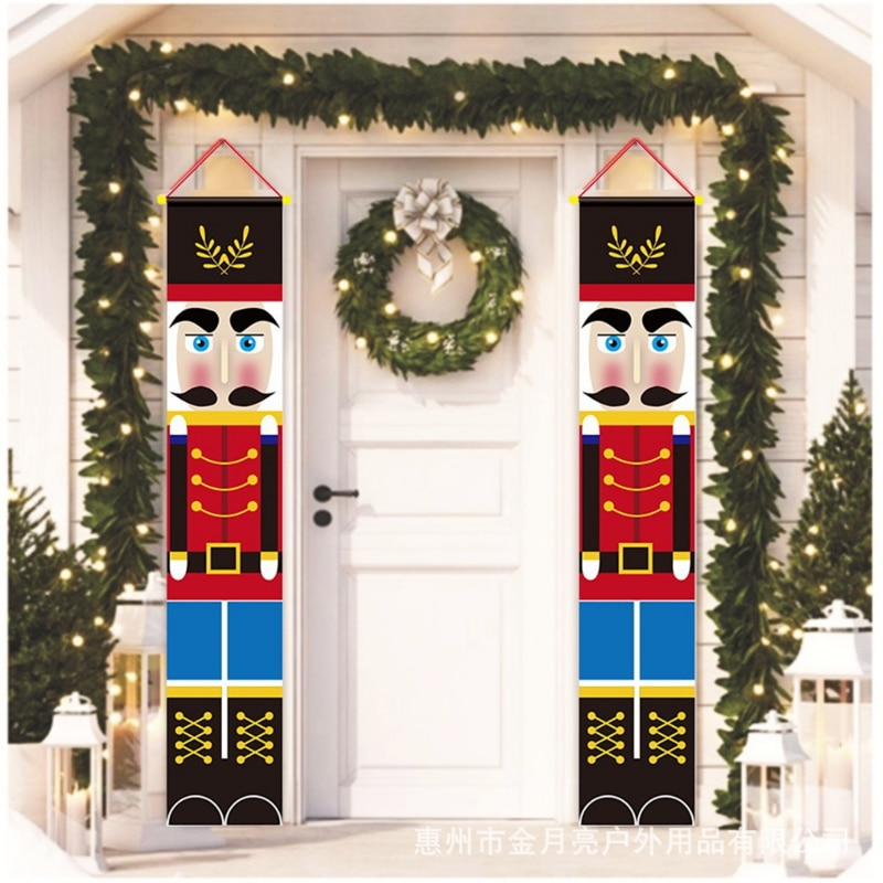 Life Size Masked Nutcracker Soldier Banner Sign for Outdoor Xmas Decor BCARICH Nutcracker Porch Sign for Christmas Outdoor Decoration 2020 Quarantine Hanging Decoration with Funny Design