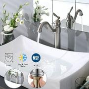 "Aquaterior® 13-1/2"" Tall Bathroom Faucet Vessel Sink Single Handle Brushed Nickel CUPC NSF"