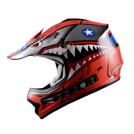 WOW Youth Kids Motocross Helmet BMX MX ATV Dirt Bike HBOY-K Shark Red