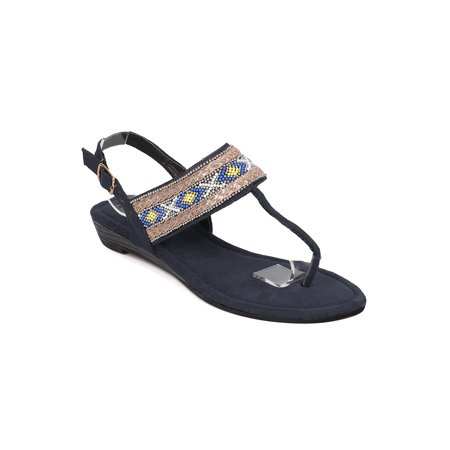 New Women Refresh Easy-01 Mixed Media Beaded Tribal T-Strap Micro Wedge Sandal](Beaded Sandals)