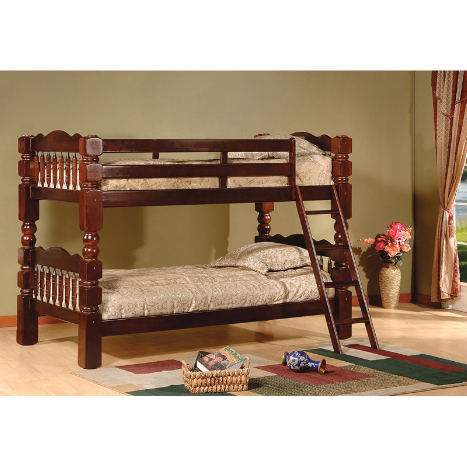 K & B Furniture Carved Spindle Twin Over Twin Bunk Bed