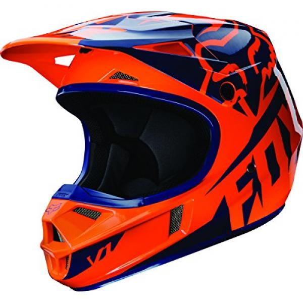 2016 Fox Racing Youth V1 Race Helmet (YM, Orange/Blue)