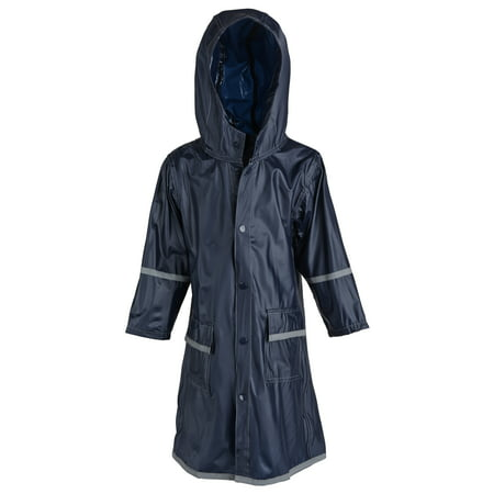 Girls Kids Waterproof Full Length Long Hooded Raincoat Jacket Coat for Children