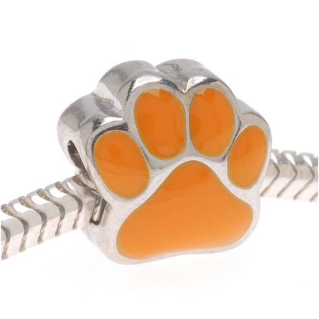 Silver Tone With Orange Enamel Large Hole Paw Print European Style Bead