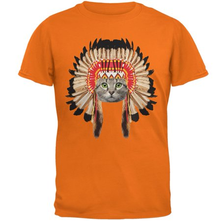 Thanksgiving Funny Cat Native American Mandarin Adult T-Shirt - Thanksgiving Crafts For Adults