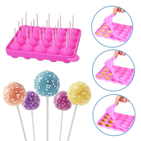 20-cavity Silicone Cake Mold Half Circle Lollipop Party Cupcake Baking Mold Cake Pop Stick Mold Tray Pink