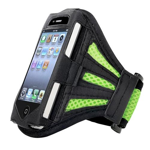 Insten Sports Running Cycling Hiking Armband Phone Holder For iPhone 4 4S 3GS / iPod touch 4th 3rd 2nd Gen Black/Green