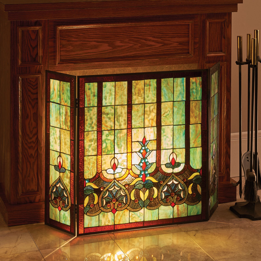stained glass fireplace screen Stained Glass Hearts Decorative Three Panel Fireplace Screen  stained glass fireplace screen