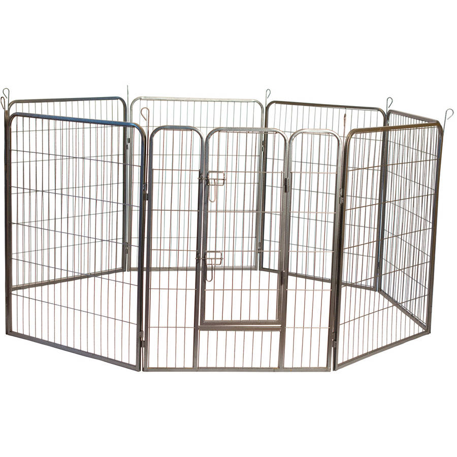 """Iconic Pet Heavy Duty Metal Tube Pen Pet Dog Exercise and Training Playpen, 32"""" Height"""