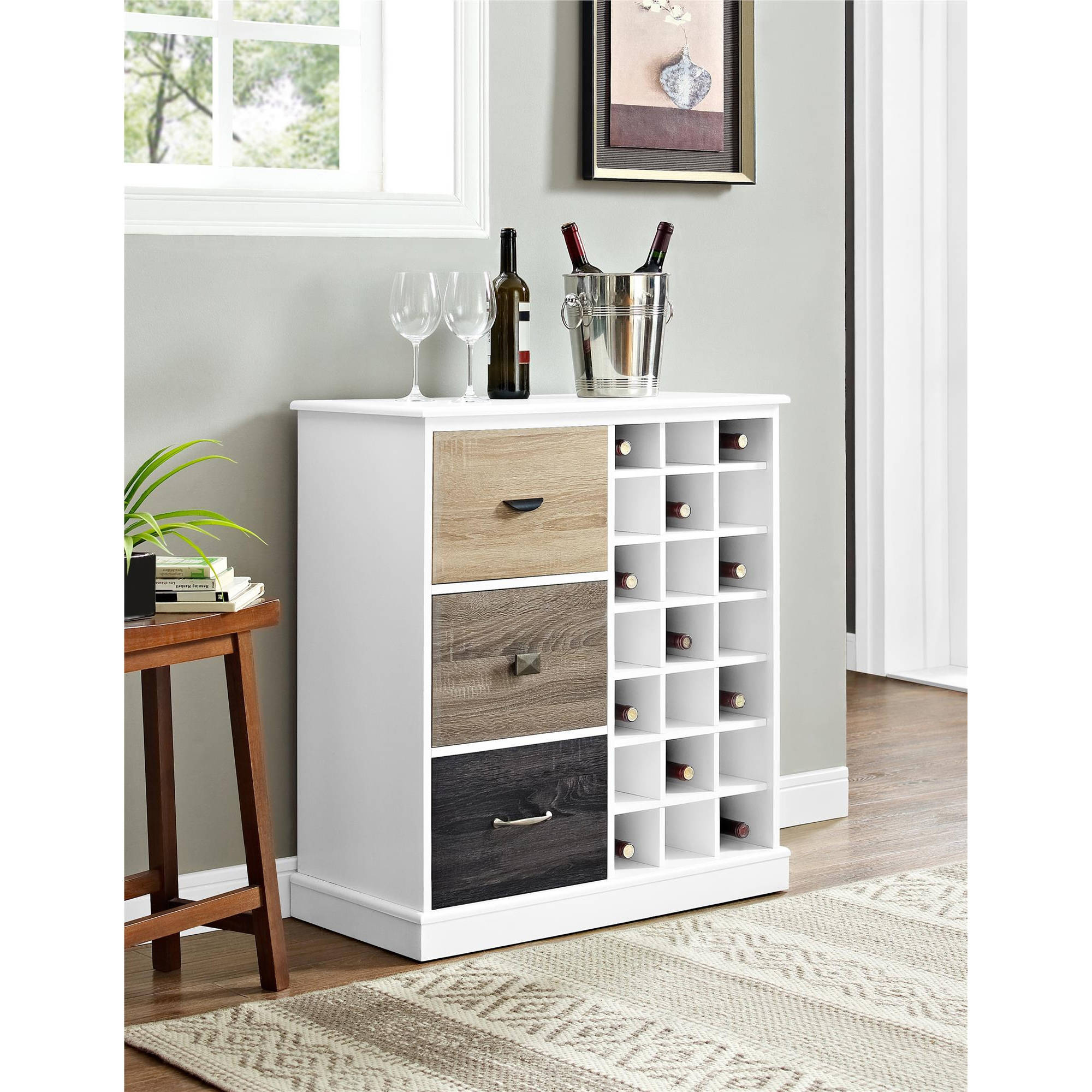Altra Mercer Wine Cabinet with Multicolored Door Fronts, White