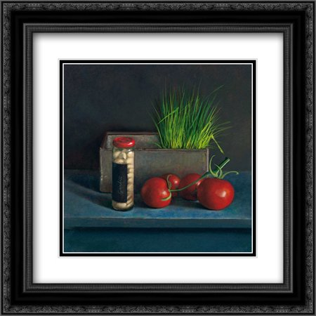 - Still Live with Tomato 2x Matted 20x20 Black Ornate Framed Art Print by van Riswick, Jos