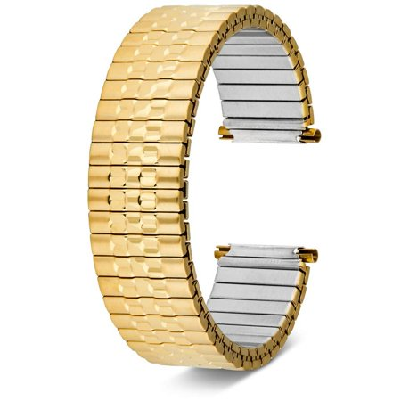 United Watch Bands Jubilee Style Expansion Stretch Stainless Steel Watch Band, Choice of Colors, Straight and Expandable Ends Universal Fits All Watch Brands with Lug Openings from 16MM to 22MM Face Gold Color Expansion Band