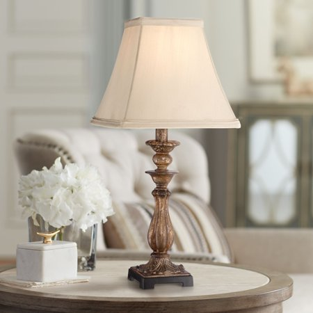 "Regency Hill Cottage Accent Table Lamp 18"" High Antique Distressed Light Bronze Square Shade for Bedroom Bedside Nightstand"