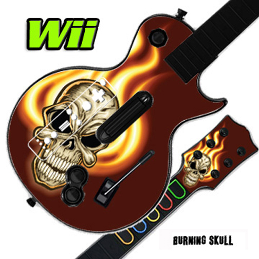 Mightyskins Skin Decal Cover for GUITAR HERO 3 III Nintendo Wii Les Paul - Burning Skull