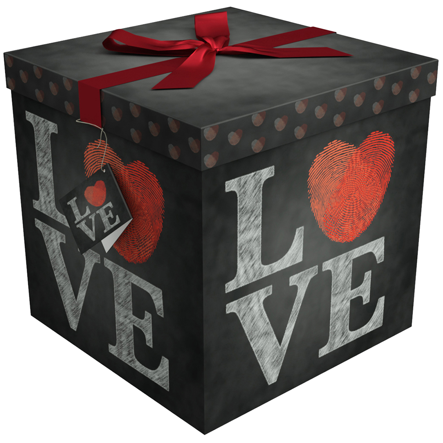 Gift Box 12x12x12 Amrita Love Collection - Easy to Assemble & Reusable - No Glue Required - Ribbon, Tissue Paper, and Gift Tag Included - EZ Gift Box by Endless Art US