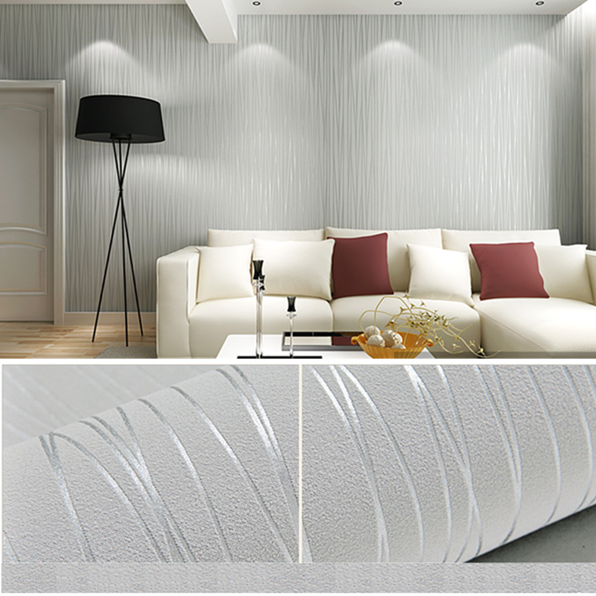 56(sp.ft) 10*10M 3D Flocking Modern Wire Drawing Textured Removable Non-Woven Fabric Wallpaper Home Living Room Bedroom Baby Nursery Wall Decor