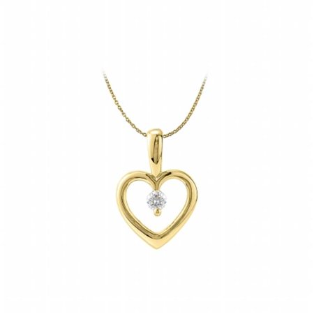 Fine Jewelry Vault Ubpds81728y14cz Solitaire Heart Cz Pendant 14K Yellow Gold Free Chain