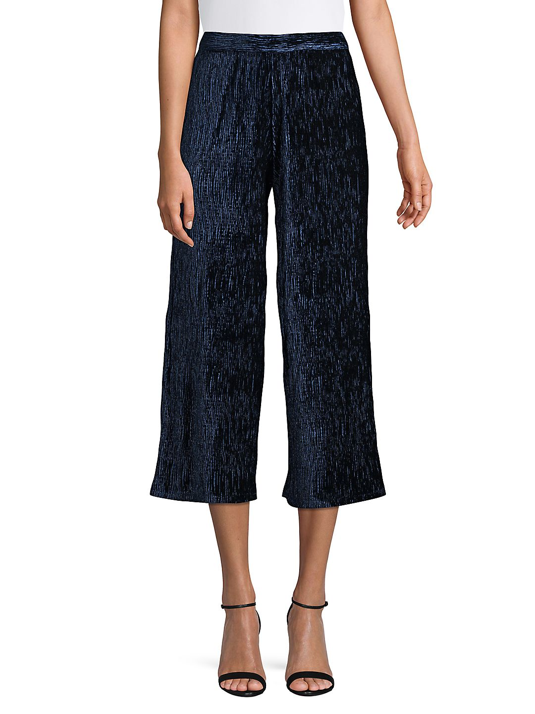 Velvet Plisse Cropped Wide Leg Pants