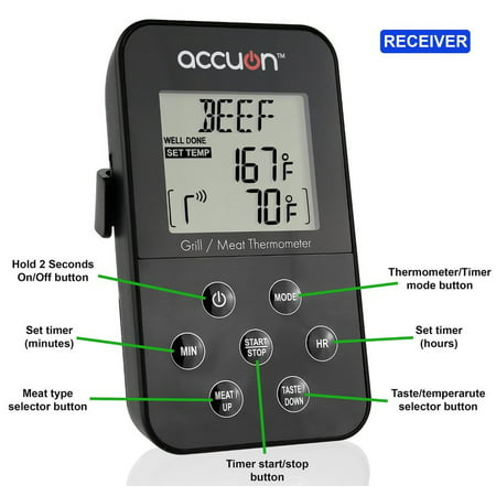 Accuon Wireless Digital Thermometer Set - for BBQ / Smoker / Grill / Oven / Meat