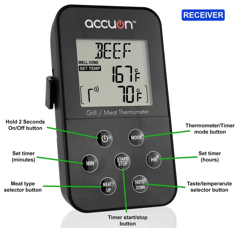 Accuon Wireless Digital Thermometer Set - for BBQ / Smoker / Grill / Oven / Meat - 300 Foot Range