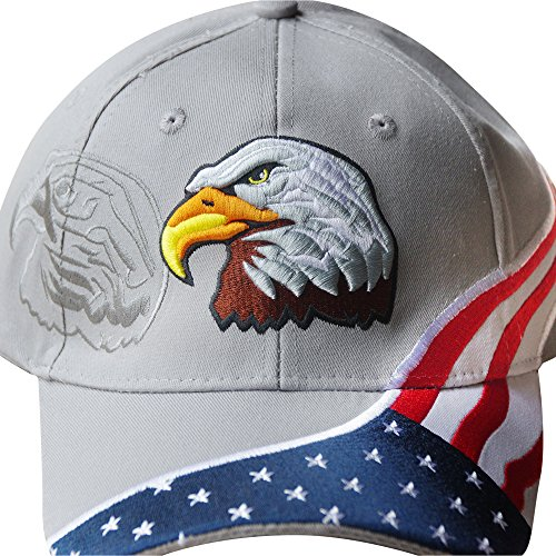American Flag Hat - USA Eagle Baseball Cap with 100,000 Embroidery Stitches (Grey), Great Dad Gift