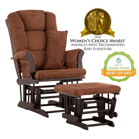 Glider Rocking Chair Ottoman - Storkcraft Tuscany Glider and Ottoman with Lumbar Pillow Black with Chocolate Cushions