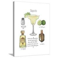 Classic Cocktail - Margarita Stretched Canvas Print Wall Art By Naomi McCavitt