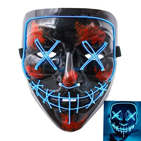 Scary Halloween Limericks (Halloween Mask Led Light Up Scary Mask for Festival Cosplay Halloween Masquerade Costume Parties)