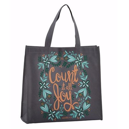 CB Gift 197316 14 in. Square Tote Bag-Nylon-Count it All Joy 6 in. Gusset