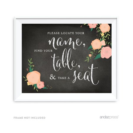 Nameboard Sign (Locate Your Name, Find Table, Take Seat Chalkboard & Floral Roses Wedding Party Signs)