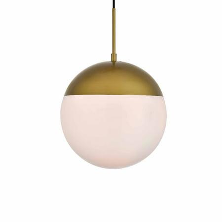 Frost Glass Pendant (Elegant Lighting LD6042 Eclipse Single Light 12