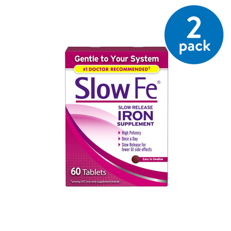 (2 Pack) Slow Fe Iron Tablets, 45mg, 60 ct