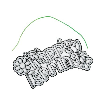 Fun Express - Spring Suncatcher Sign for Spring - Craft Supplies - Bulk Craft Accessories - Suncatchers - Spring - 12 Pieces Plastic. 9  x 4 3/4
