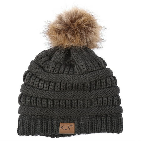 Woolen Hats for Women Winter Knitted Fur Hat Skullies Muts Wollen Beanies Ladies](Gangster Beanies)