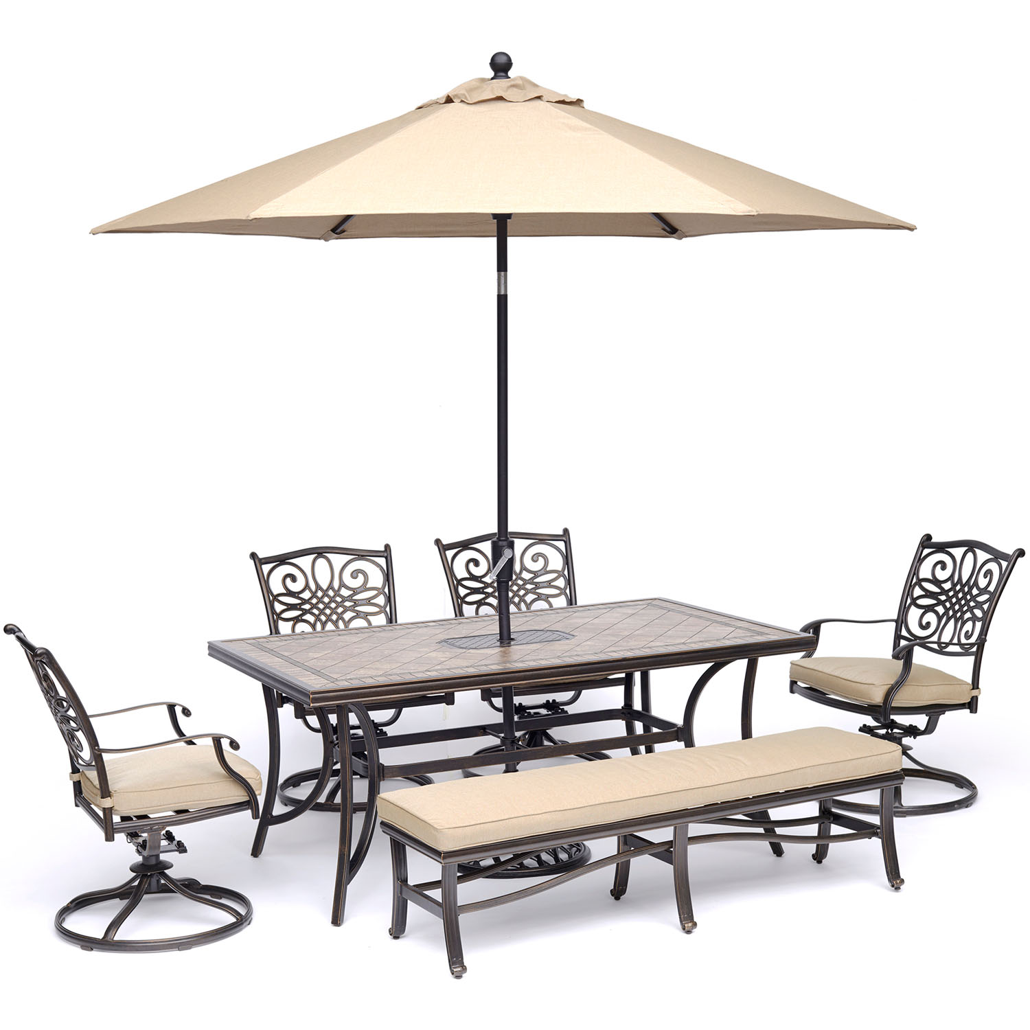 """Hanover Monaco 6-Piece Dining Set in Tan with 4 Swivel Rockers, 1 Bench, a 40"""" x 68"""" Tile-Top Table, and a 9 Ft. Umbrella with Stand"""