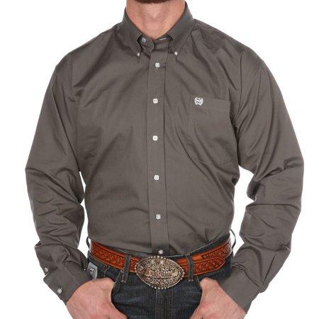 Gray Long Sleeve Shirt - Cinch Apparel Mens  Grey Pinpoint Oxford Long Sleeve Shirt