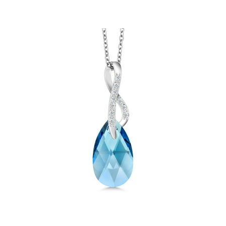 0d4d59096 Gem Stone King - Aqua Blue Ribbon Tear Drop Pendant Made with Swarovski®  Crystals - Walmart.com